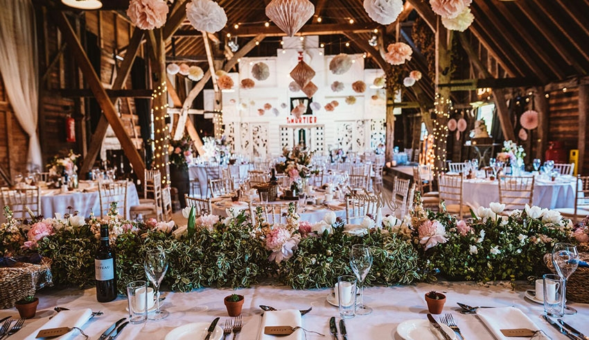 Inside the quirky, but beautiful wedding barn at Preston Court