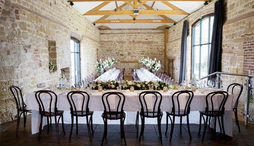 Hendall Manor Barns set up for a wedding reception
