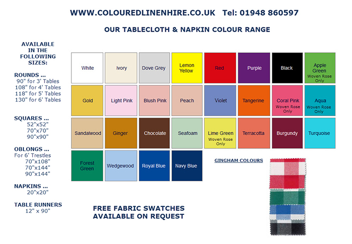 Coloured Linen Hire