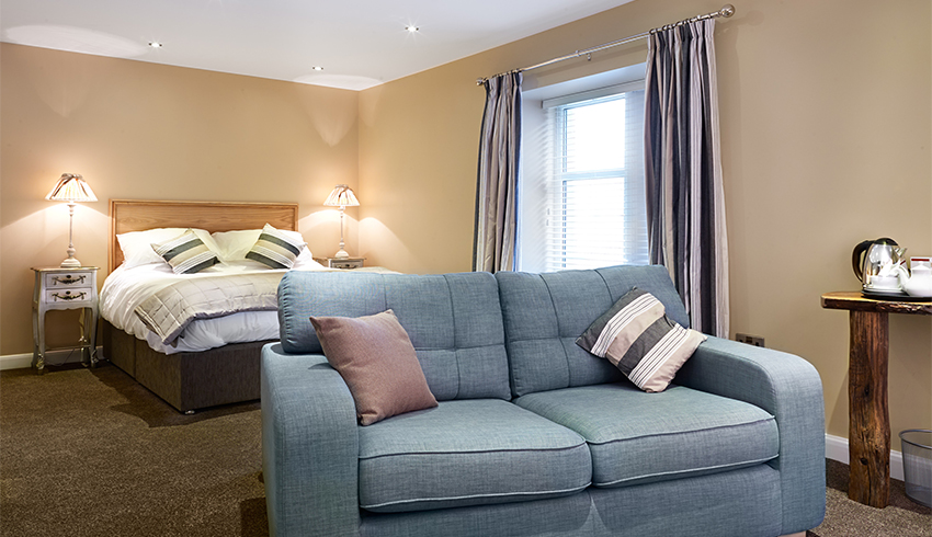 Newly refurbished wedding guest bedroom at 1885 the Function House in West Yorkshire