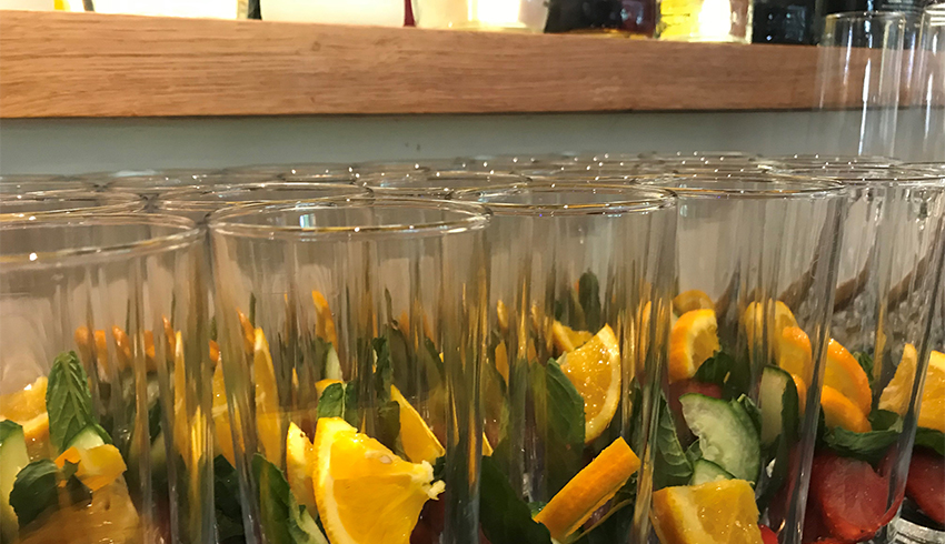 Pimms anyone? Reception drinks ready to be served to wedding guests at 1885 the Function House