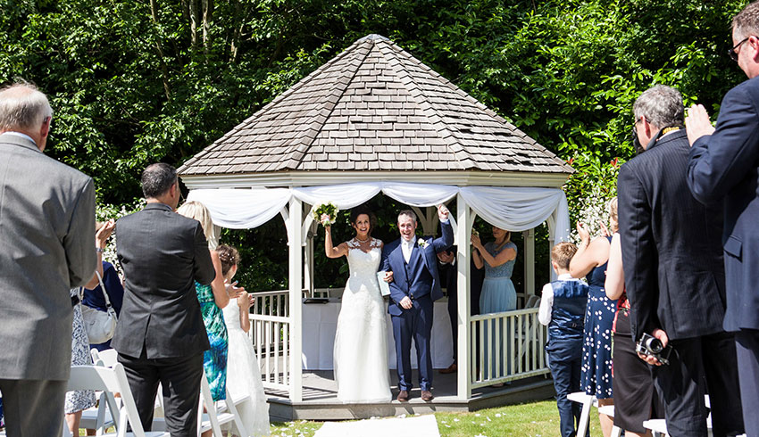 The outdoor wedding ceremony venue at the Alexander House Hotel, West Sussex
