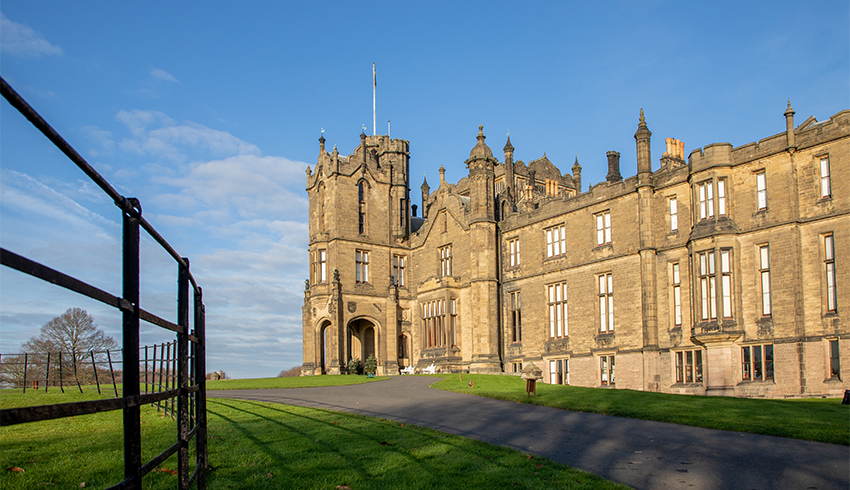 Entrance to the front of Allerton Castle, a wedding venue in North Yorkshire