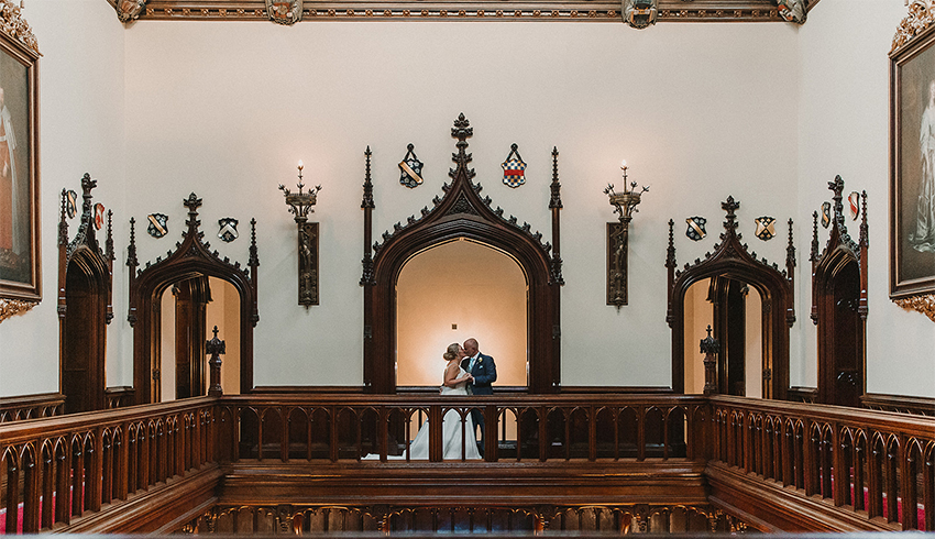 Just married, wedding couple taking a few moments together at Allerton Castle