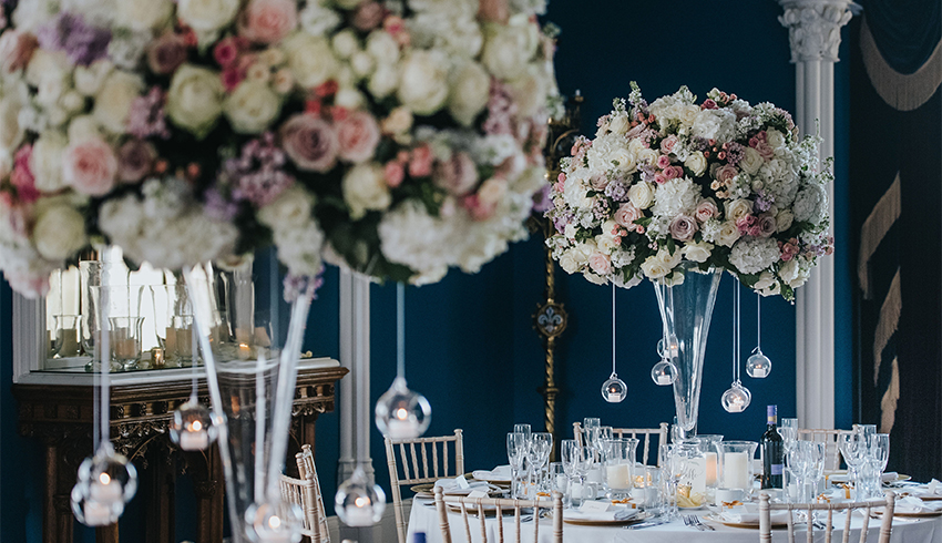 A stunningly beautiful wedding table display at Allerton Castle