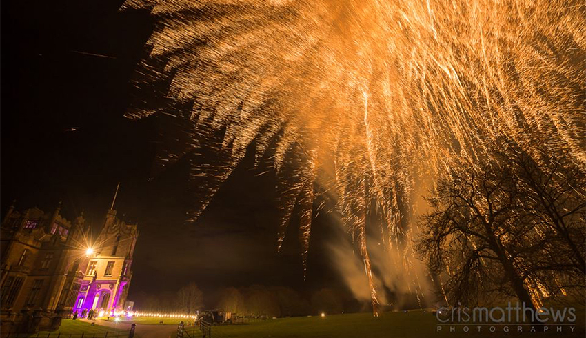 Fireworks to end a wedding celebration at Allerton Castle, a wedding venue in North Yorkshire