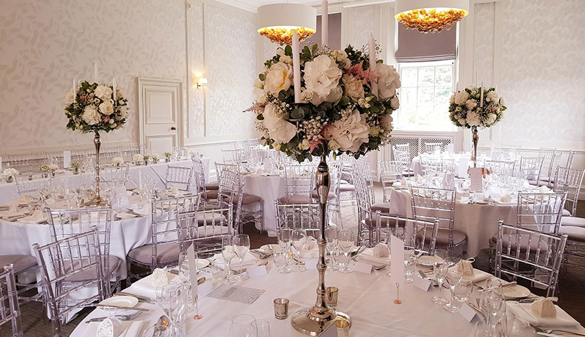 The Garden Suite at Barnett Hill Hotel, set up for a wedding reception