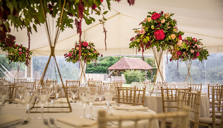 A beautiful marquee set up at Battel Hall, a Kent wedding venue located on the Leeds Castle Estate