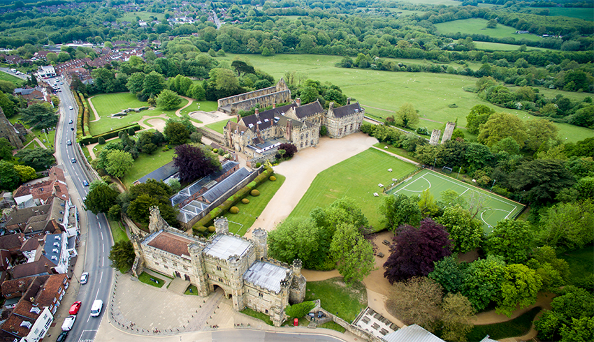 Aerial View of the grounds of Battle Abbey, a wedding venue in East Sussex