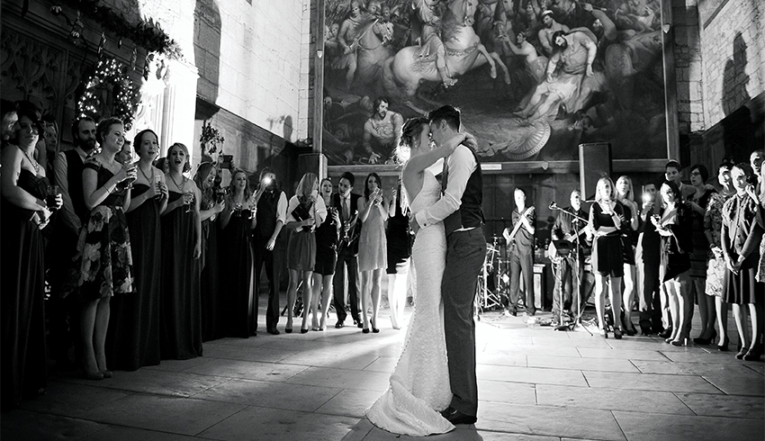 Wedding couples first dance at their wedding at Battle Abbey