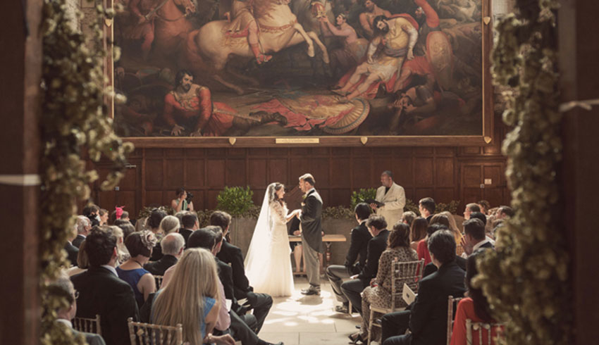 Wedding ceremony at Battle Abbey, Sussex wedding venue
