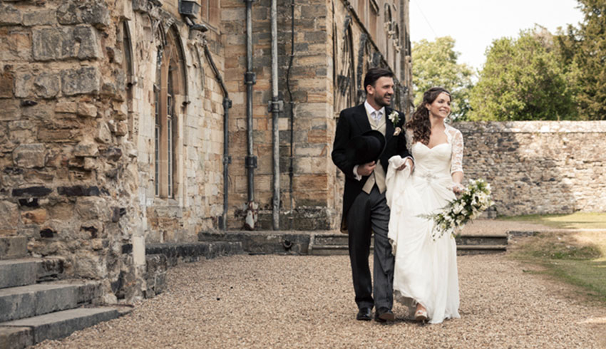 Bride and Groom just married at Battle Abbey