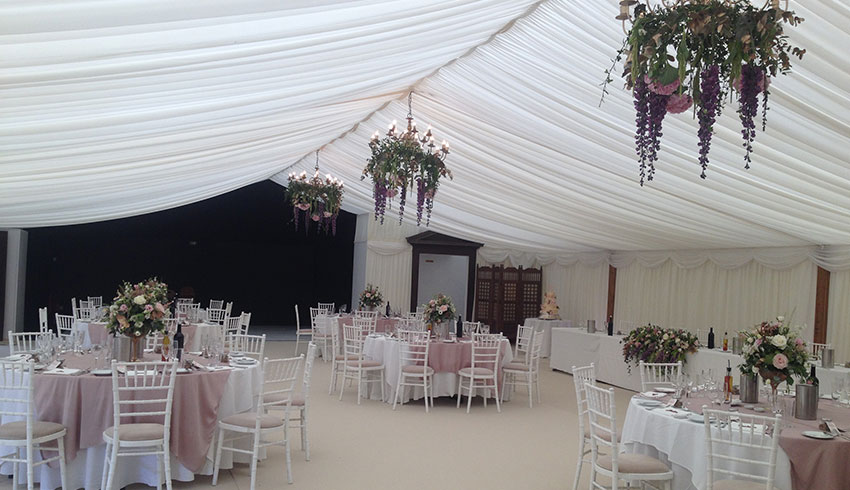 A marquee at Broyle Place set up for a wedding