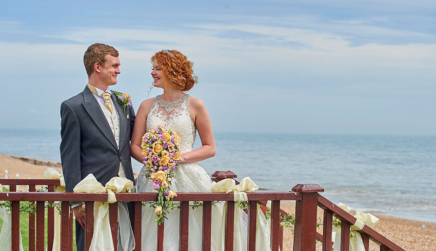 Outdoor wedding ceremony at the Cooden Beach Hotel