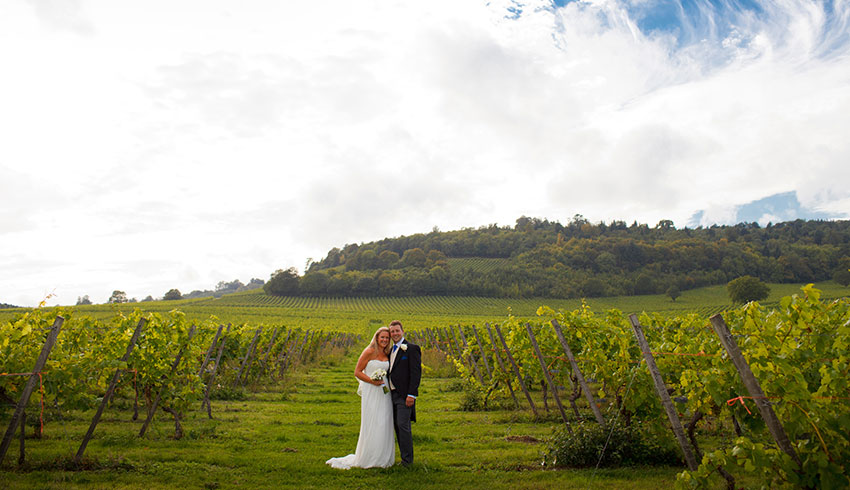 Wedding couple at Denbies Wine Estate