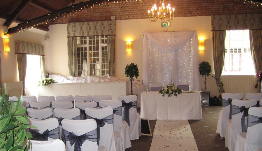 Ghyll Manor wedding venue set up for a wedding ceremony