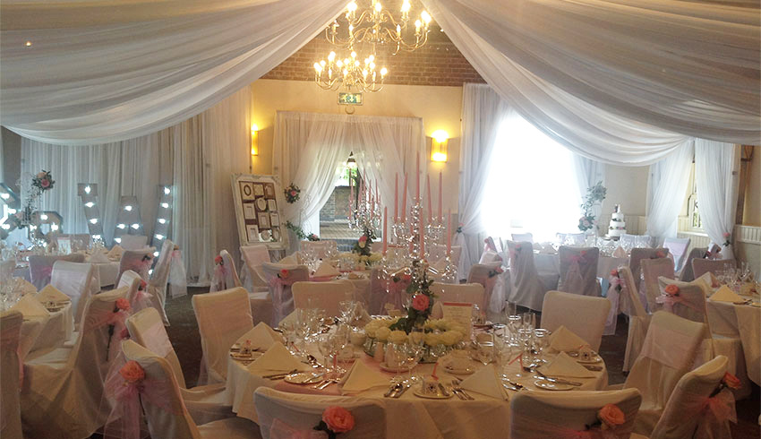 A wedding reception at Ghyll Manor, a wedding venue in West Sussex
