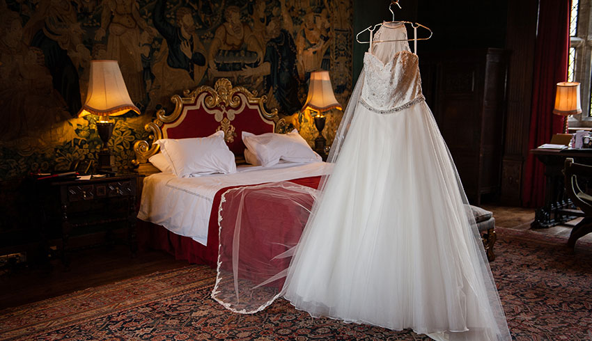 Wedding dress in Great Fosters bridal Suite