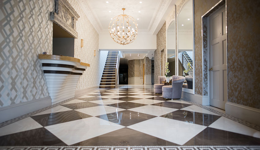 The foyer of the recently refurbished Guildford Manor Hotel