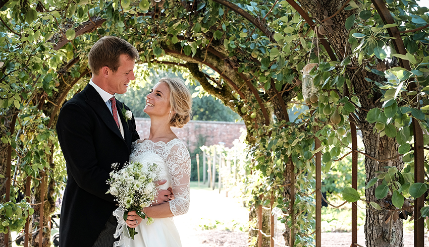 Wedding couple in the Walled Garden at the Highden Estate