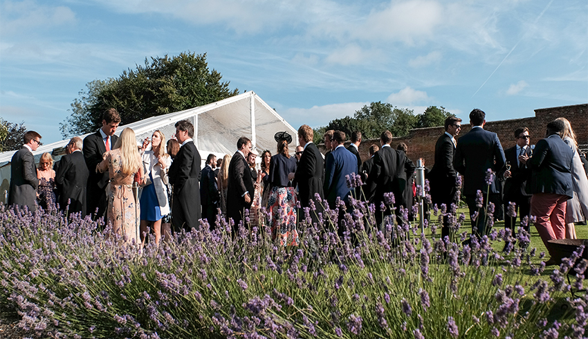 Wedding reception being held in the Walled Garden at the Highden Estate