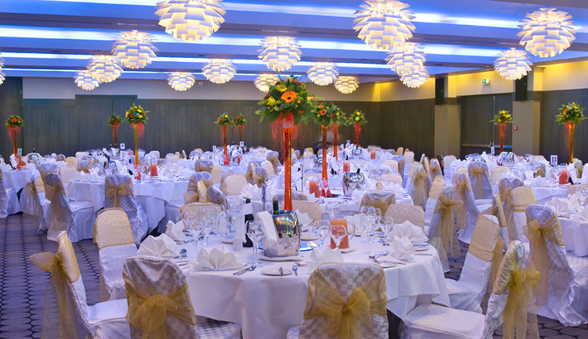 Holiday Inn Kingston in Surrey set up for a wedding reception