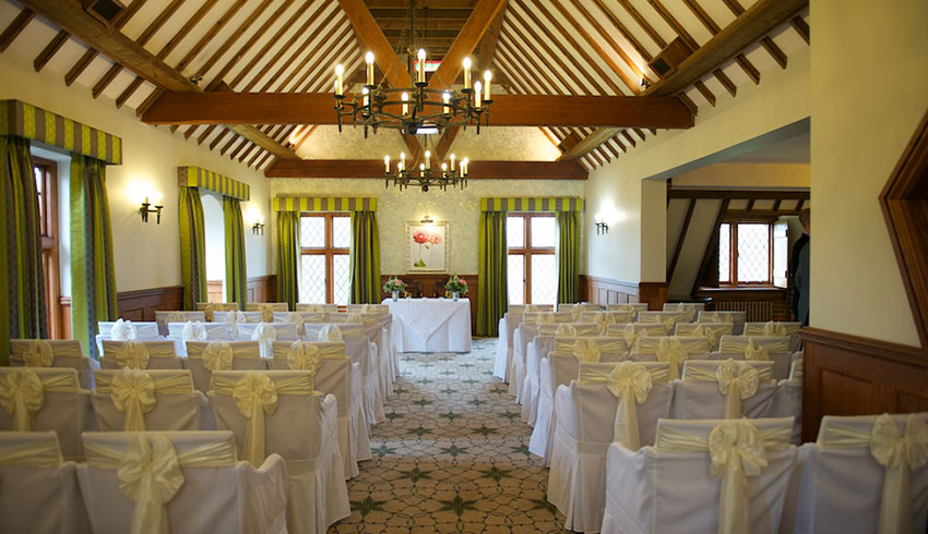 Mannings Heath Golf Club set up for a civil ceremony wedding