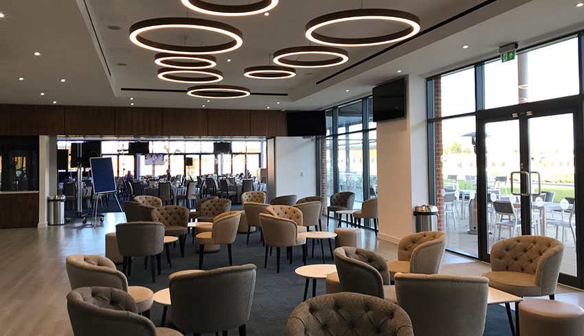 The Owners Club bar at Newbury Racecourse, used for wedding receptions