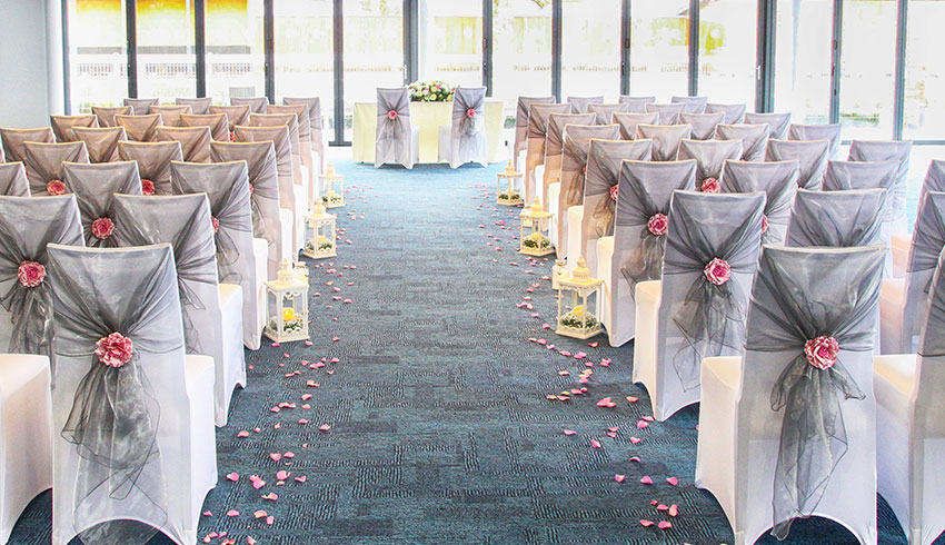 Owners Club set up for a wedding ceremony at Newbury Racecourse