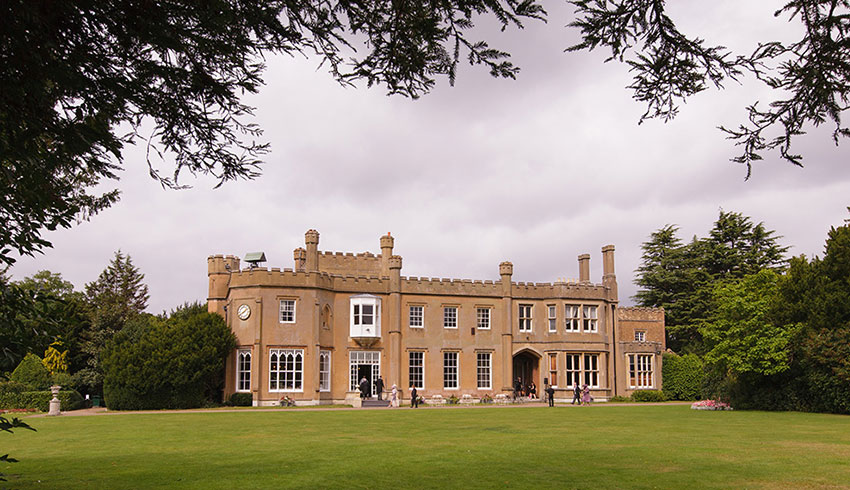 The view of the outside of Nonsuch Mansion, a Surrey wedding venue