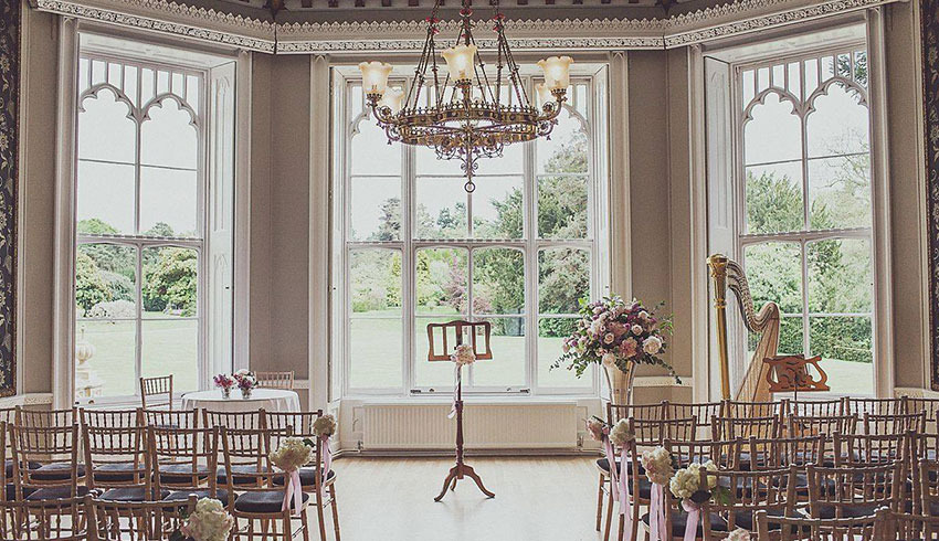 Inside the beautiful Orchid wedding ceremony room at Nonsuch Mansion
