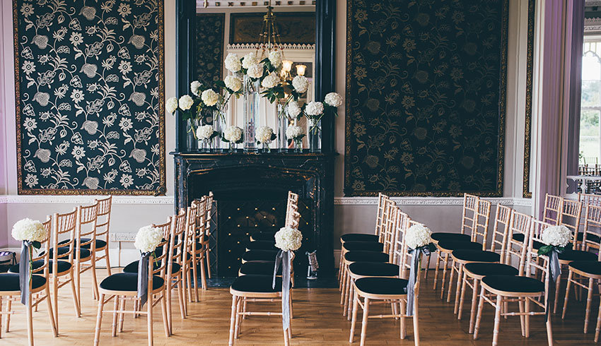 The blue ceremony room at Nonsuch Mansion