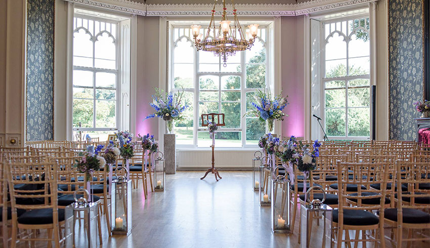 Blue theming of the ceremony room at Nonsuch Mansion