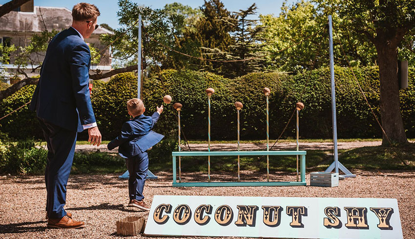 The coconut shy at Preston Court, a Kent wedding venue