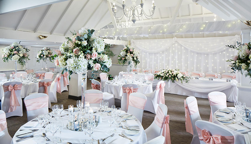 A wedding ceremony set up at Rowhill Grange