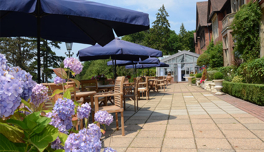 The pretty terrace area at Stanhill Court