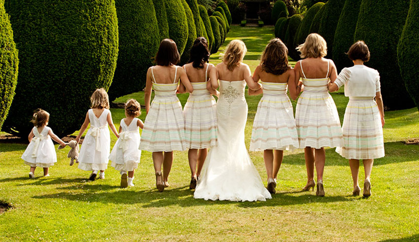 Bridal party in the grounds of the Elvetham