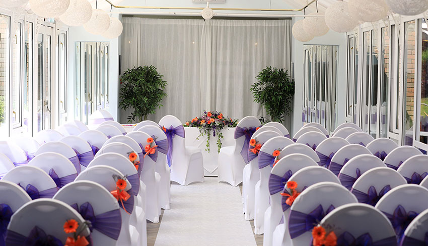 The Hogs Back Hotel, Surrey, showcases a beautiful wedding ceremony room