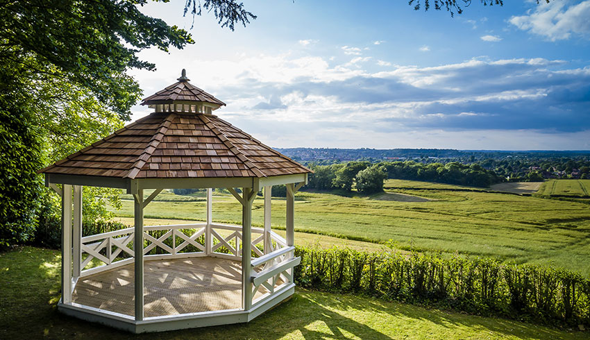 The Hogs Back Hotel, Surrey, provides panoramic views of the surrounding countryside