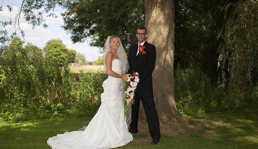 Wedding couple at The Old Mill, Berkshire wedding venue