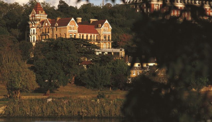 View of the Petersham Hotel from across the River Thames, a Surrey wedding venue