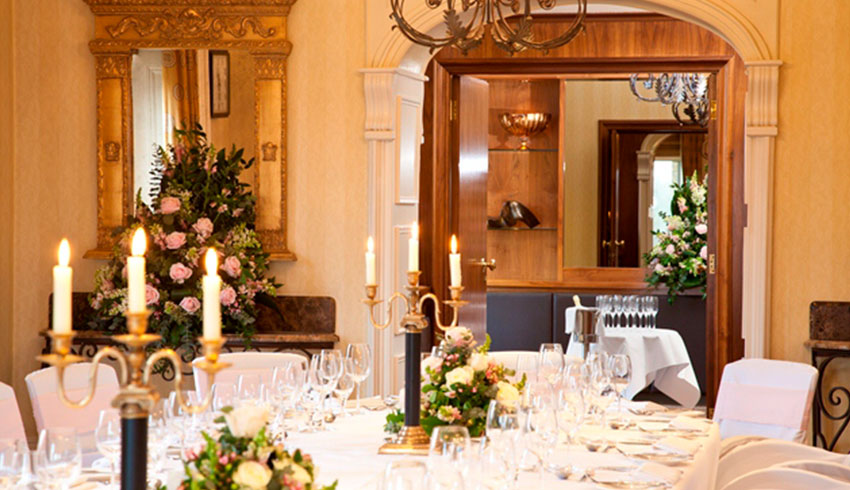 The Petersham Hotel set up for a wedding reception