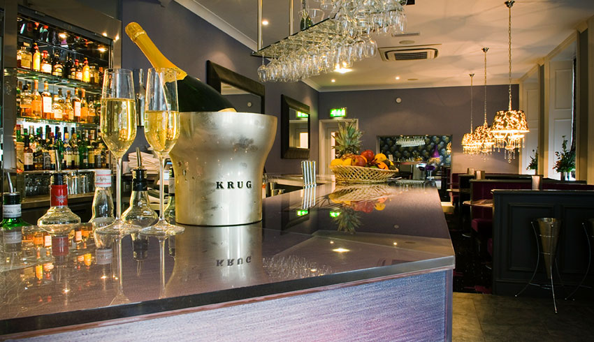 The champagne bar at the Spa Hotel, Kent wedding venue