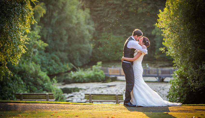 Wedding couple in the grounds of the Spa Hotel, Kent wedding venue