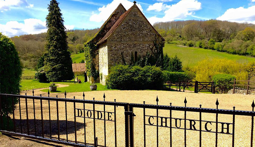The amazing view of The Lost Village of Dode from the main entrance gates with the beautiful countryside in the background