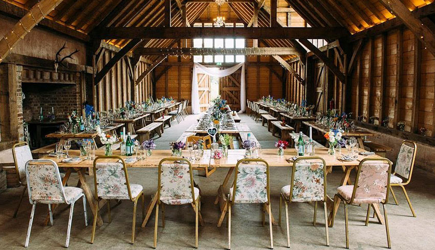 The Yoghurt Rooms barn set up for a wedding reception