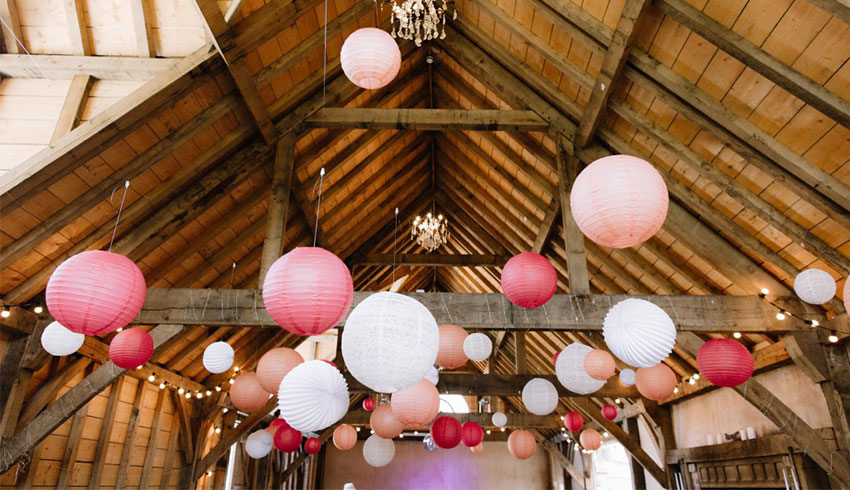 The barn at the Yoghurt Rooms with its ceiling dressed in pink balls