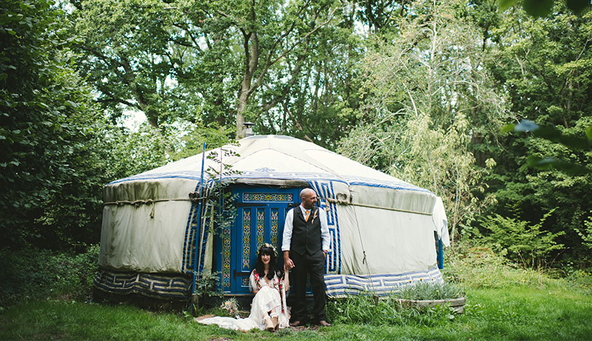 A glamping yurt in the field at the Yoghurt Rooms