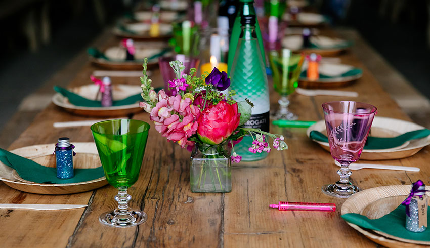 A colourful wedding reception table at the Yoghurt Rooms