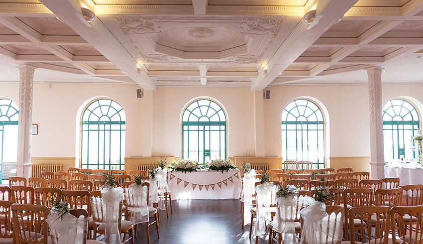 The Worthing Dome set up for a wedding ceremony